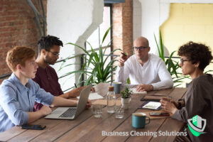 A business meeting in a clean and safe office environment