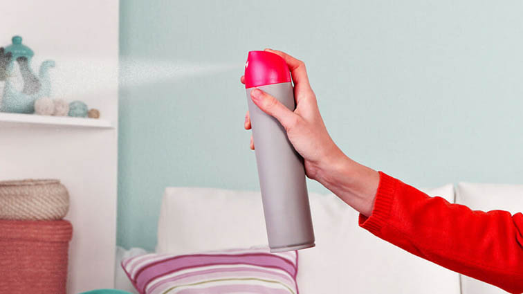 Aerosol hand-held air freshener spray can.