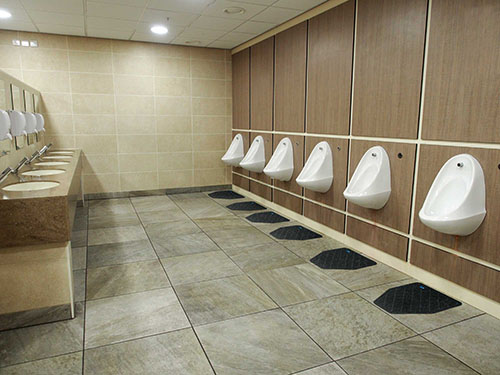Commercial floor mats place below the urinals can prolong the life of your floors.