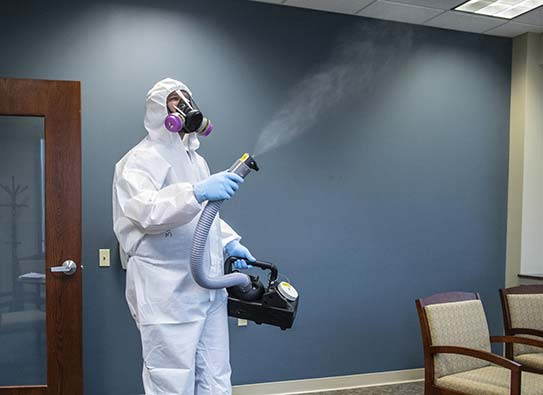 ULV fogging an office to sanitize for Covid-19.