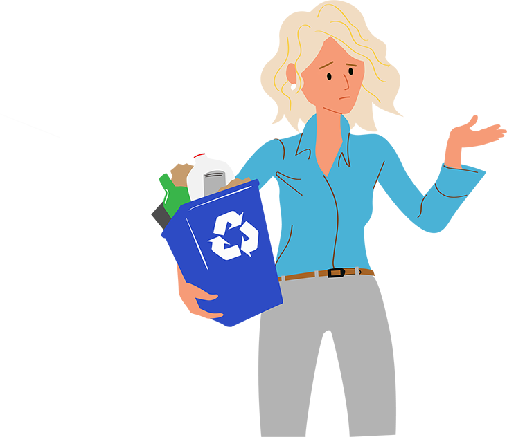 a disappointed professional office woman holding a full recycling bin.