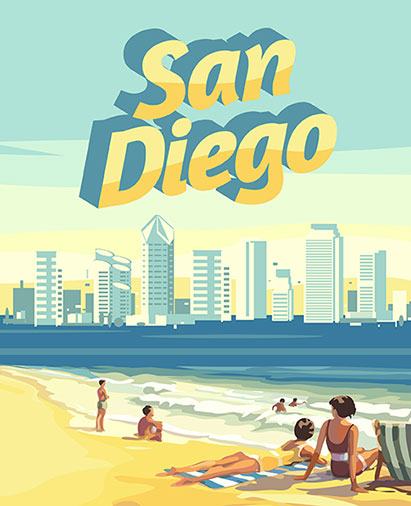Sunny day beach life in San Diego
