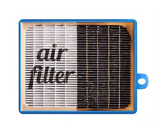 An air filter that is showing one side clean and one side dirty.