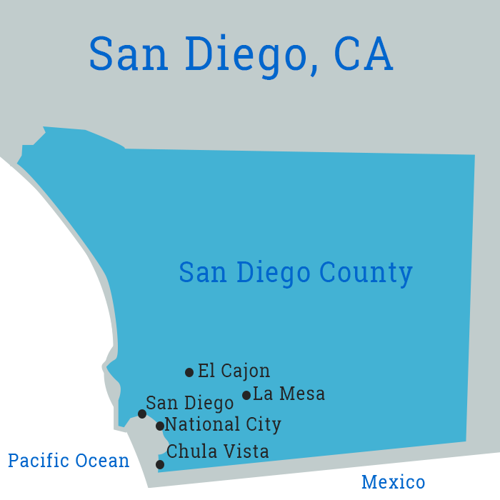 Map of Business Cleaning in San Diego County