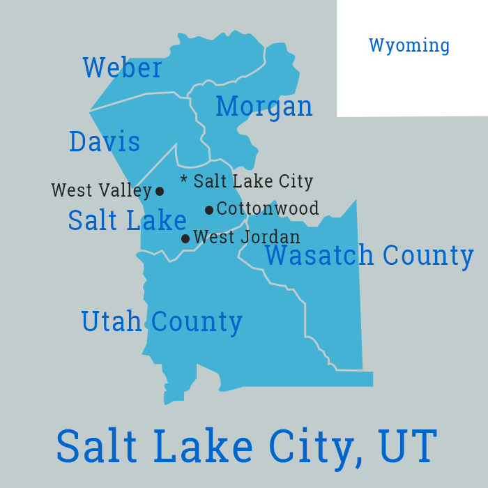 Map of Salt Lake County for business cleaning solutions