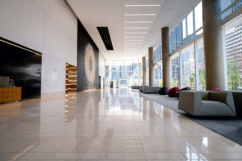 Shiny lobby floor in commercial building