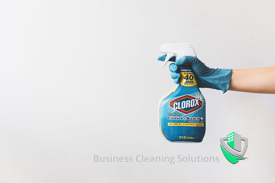 Spray bottle filled with bleach for disinfecting