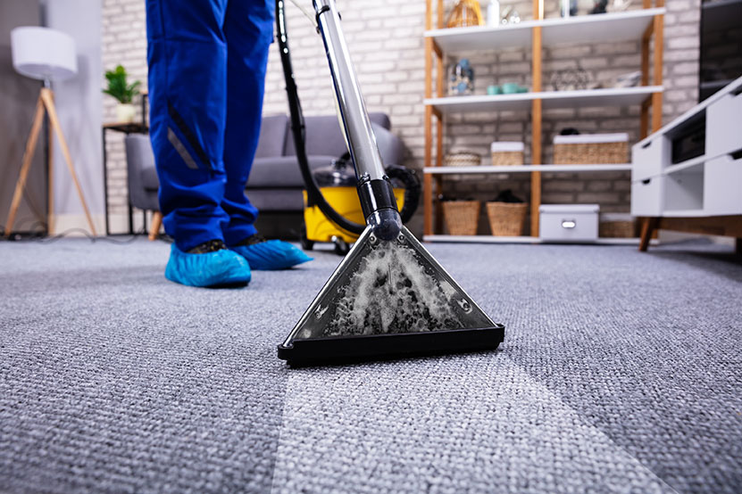 professional carpet cleaner utilizes hot water extraction