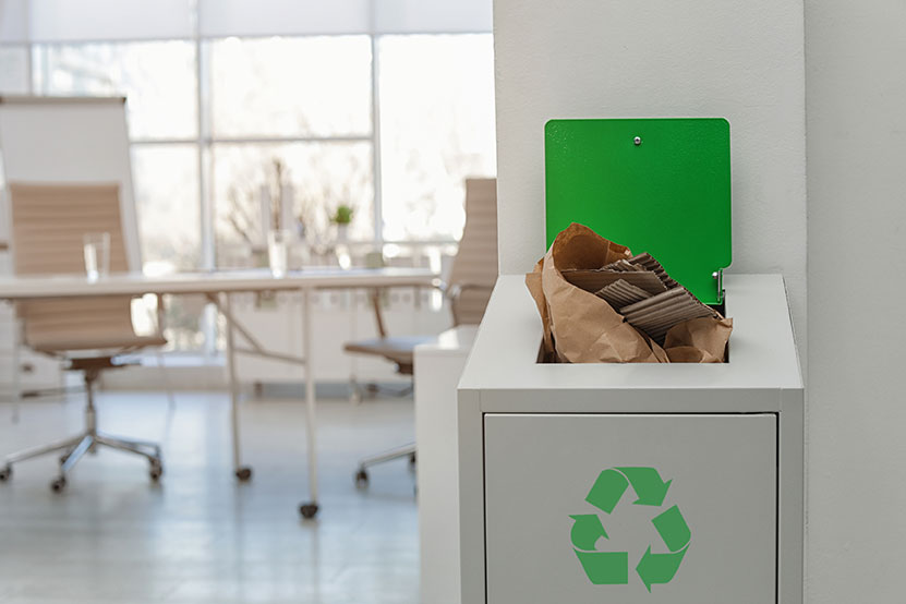 Overflowing recycling bin
