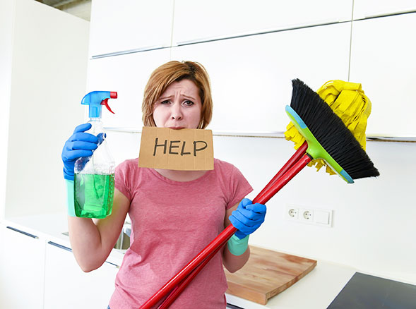 Frustrated woman asks for help in keeping the office clean.  She is caught in 'cleaning quicksand.'