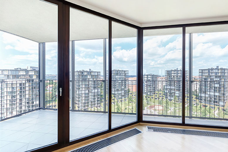 Clean and clear commercial windows with city view.
